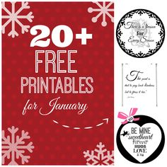 20 + free Printables for January. Organizing, cleaning, seasonal and more! Free.