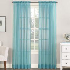 Robert Sheer Voile Rod Pocket curtains: in blue, taupe, or eggshell