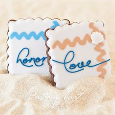 Beach Wedding Vow Cookie Favors  Sea Shell by PastryTartBakery, $39.60