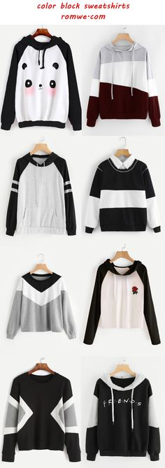 color block sweatshirts 2017 - romwe.com