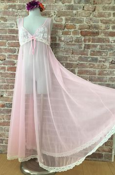 Click the 'visit' button on the right, under the photo, to visit my shop!  M/L / Sheer Pink Chiffon Peignoir / Chiffon Robe / Sheer