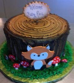 Fox and tree stump cake