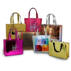 Custom Made Metallic PolyPro Non-Woven Bags- These cute promotional gift bags are perfect for a promotional gift as they are very stylish.