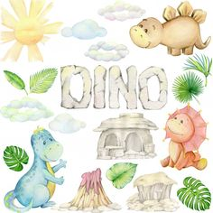 Watercolor, Little Dinosaur. Die Dinos Baby, Baby Dino, Crafts For Kids, Arts And Crafts, Get A Tattoo, Watercolor Illustration, Clipart, Baby Boy Shower, Cute Animals