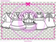Flat sketching for Kids Girls Occasion Spring Collection.