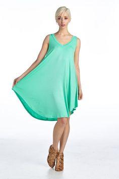 Solid V Neck Flare Dress