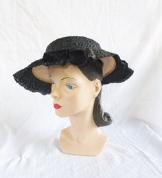 Clearance 30's 40's Vintage Straw and Horse by MyVintageHatShop