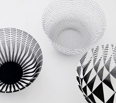 Sculpt your very own work of art with this set of three paper airvases. Designed by Torafu Architects in Japan, airvase is made from thin and lightweight paper that is remarkably flexible – it is reversible and collapsible and once the airvase is extended it can be shaped any number of ways. And see how the patterns change depending on what angle you view the airvase from… shh, it's a secret of the unique weave design. This set includes three black and white patterned airvases that come flat…