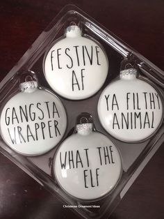 Farmhouse Style Ornament Stickers – Naughty Style Related posts:Christmas decorationsLast Minute DIY Christmas Gifts You Can Make in No Time – Pizza Money GiftPersonalized Gift Wrap Diy Christmas Ornaments, Christmas Balls, Homemade Christmas, Diy Christmas Gifts, Christmas Projects, Holiday Crafts, Holiday Fun, Christmas Holidays, Decorating Ornaments