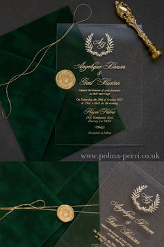 Perspex Glass invitations with Emerald Green Velvet Envelope embellished with gold string and wax seal Acrylic Wedding Invitations, Green Wedding Invitations, Wedding Invitation Cards, Wedding Cards, Wedding Stationery, Emerald Green Weddings, Green Velvet, Wedding Designs, Wedding Details