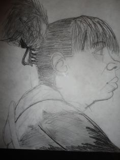 Charcoal portrait, from live model, by (then) 7th grader in Ms. Hazlett's Art class~