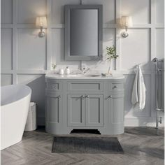 Buy the Butler & Rose Charlotte Floorstanding Vanity Unit & Basin - Dovetail Grey from Tap Warehouse and save on our great range of traditional vanity units. The Butler & Rose Charlotte range comes in a choice of two finishes and a lifetime guarantee. Steam Showers Bathroom, Bathroom Faucets, Bathroom Storage, Small Bathroom, Bathroom Ideas, Bathroom Organization, Bathroom Mirrors, Shower Rooms, Master Bathrooms