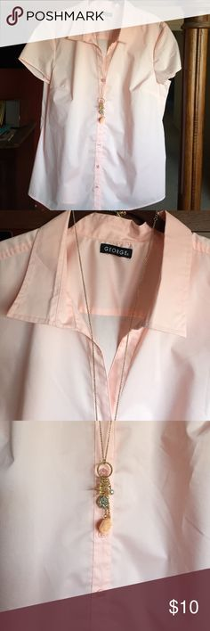"Beautiful Blush Blouse Really pretty blush colored dress shirt. Button down, cap sleeve tailored bust. Would be great work or church shirt. Sz tag cut out but bust measures 46"" and its 27"" long. George Tops Blouses"