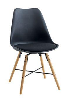 Krzesło KLARUP materiał czarne/dąb 225zl