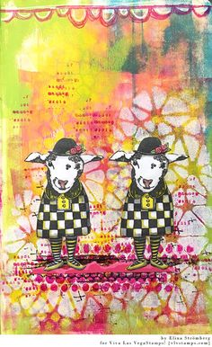 Art journal page with acrylic paints and Viva Las VegaStamps!