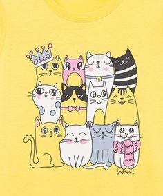 Short Sleeve Kitten Print Tee YELLOW   Bossini