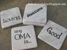 Instructions how to make these personalized marble coasters...im gonna make this for my Oma, what a good idea