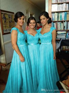 Turquoise Blue Chiffon Corset Long Bridesmaid Dress, Formal Prom Dress Source by wanttogetmarried Turquoise Bridesmaid Dresses, Wedding Bridesmaid Dresses, Tiffany Blue Bridesmaids, Wedding Turquoise, Girls Dresses, Flower Girl Dresses, Prom Dresses, Ball Gowns Prom, Perfect Wedding Dress
