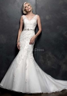 Fit N Flare V Neck Lace Floor Length Chapel Train Wedding Dress With Sash/ Ribbon