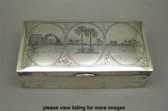 Vintage Iraqi Islamic Middle Eastern Silver Niello Wood Lined Cigar Box
