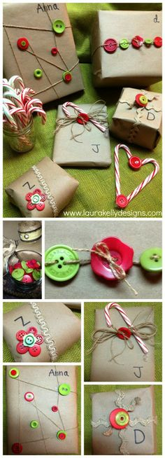 Wrap the gifts this year with recycled grocery sacks, buttons and twine!  #buttonsgalore #canvascorp