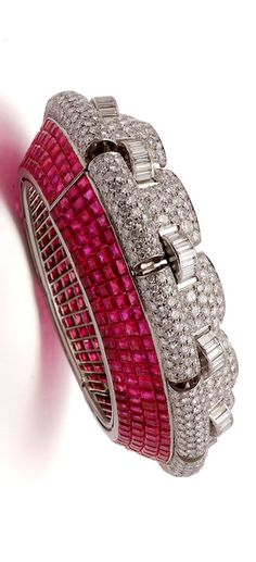 An Important Ruby and Diamond Bangle-Bracelet, by Boucheron, circa 1935.
