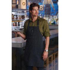Delantal con peto color gris oscuro unisex Chef Works Rockford