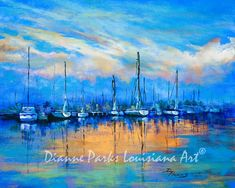 """""""Resting Sails"""" - Painting by New Orleans artist, Dianne Parks. Wide variety of sizes and options, including canvas and metal prints! Louisiana Swamp, Louisiana Art, New Orleans Jazz, Mardi Gras, St Louis, Jackson, Blessed, New Orleans French Quarter, Parks"""