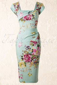 The Pretty Dress Company Cara Seville Pencil Flower Dress in mint