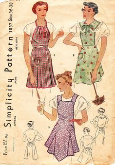1930s Apron in Three Variations for Misses by daisyepochvintage, $24.00