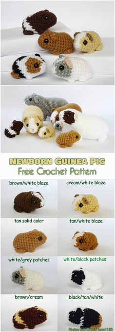 Newborn Baby Guinea Pig Free Crochet Pattern #freecrochetpatterns #amigurumipattern #crochettoys