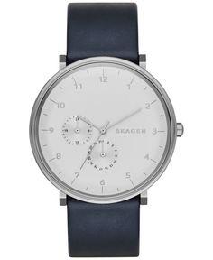 Skagen Men's Hald Blue Leather Strap Watch 40mm SKW6169