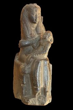 Isis-Hathor giving milk to Osiris, stone sculpture  Ptolemaic era (332-30 BCE)  Current location: Museum of Fine Arts of Lyon