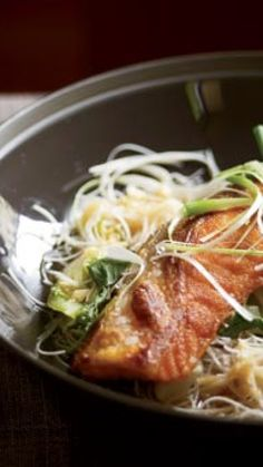 Crisp Asian Salmon with Bok Choy and Rice Noodles via @AOL_Lifestyle Read more: http://www.foodandwine.com/recipes/crisp-asian-salmon-with-bok-choy-and-rice-noodles