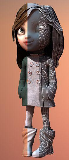 Interesante forma de mostrar la progresión del trabajo de arte de un personaje. Tengámoslo en mente para la presentación de final de curso (y portafolios) :) _ Mini Lady on Behance
