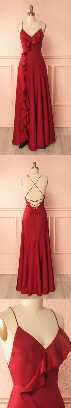 V-Neck A-line Long Prom Dress, Formal Red Party