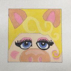 Melissa Prince Miss Piggy needlepoint movie coaster