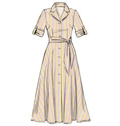 #shirtdress McCalls 6891 - MISSES' DRESSES AND SASH: Dresses have collar, semi-fitted bodice and narrow hem. C: stitched hems on sleeves. D: buttoned tab, wrong side s...