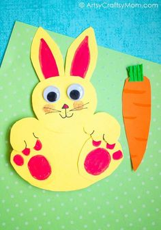 Have fun playing with your very own bunny! Make this Rocking Rabbit Craft with simple materials - complete with a video tutorial!   Rabbit Crafts   easter Ideas for kids   Animal Crafts via artsycraftsymom.com