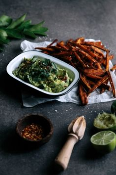 Spicy Sweet Potato Fries with Coconut & Lime Avocado     Gather & Feast