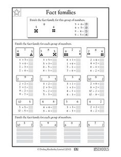 grade, grade Math Worksheets: Addition and subtraction fact families 2nd Grade Math Worksheets, 1st Grade Math, Grade 3, Second Grade, Kindergarten Data Notebooks, Fact Family Worksheet, Addition And Subtraction, Addition Facts, Homeschool Math