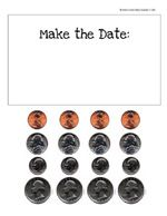 show today's date with coins. printable coins