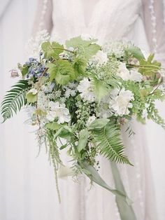 wintery green #bridalbouquet ferns, scabies, lace flower and more
