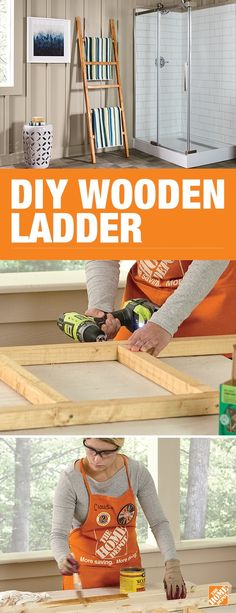 Build a decorative leaning ladder made out of wood. It's a lovely handmade piece that's sure to liven up any decor and create more room in your bathroom. Beautify your space by hanging towels or decadent art for an added touch of style. Click to view the project guide and get step-by-step instructions.