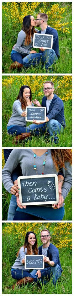 My boyfriend and I are expecting our first baby!! My best friend is a photographer and took our announcement photos. Him and I aren't married yet and she thought up this. We think it's pretty brilliant!! Like her Facebook page!! Caitlin Walker, photographer and owner of Eye4Images Photography. https://www.facebook.com/Eye4ImagesPhotography