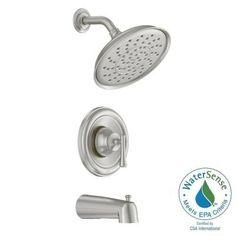 MOEN Ashville Single-Handle 1-Spray Tub and Shower Faucet in Spot Resist Brushed Nickel-82877SRN - The Home Depot