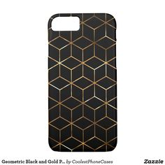 Geometric Black and Gold Pattern iPhone Case Gold Pattern, Iphone Case Covers, Black, Black People