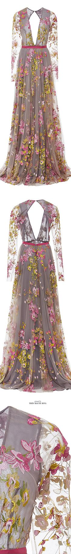Naeem Khan Floral Embroidered Long Sleeve Gown ♔ SS 2015