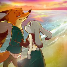 """mattnyc816: """"crispyfactor: """"nicholas-pwilde: """" fox-comics: """" Walk on the beach at sunset, Nick know how to charm her bunny :) by miroukitsu """" Yes I do! Gotta spoil my bunny rotten right? Gotta spoil the one animal that charms me just by looking at..."""