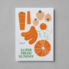 TWL Sunday Special: Super Fresh Sunday poster, postcard Design and illustraton: Jaemin LeePrint: CornersClient: TWL Year: April 2015 Graphic Design Studios, Graphic Design Posters, Graphic Design Illustration, Packaging Design, Branding Design, Cookbook Design, Postcard Design, Food Illustrations, Drawing